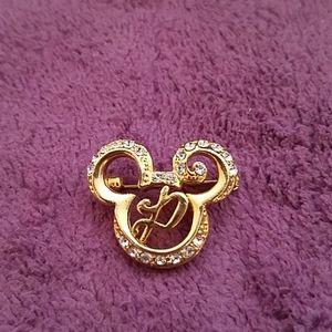 "Disney Mickey Head Initial ""P"" Pin- Rhinestones"